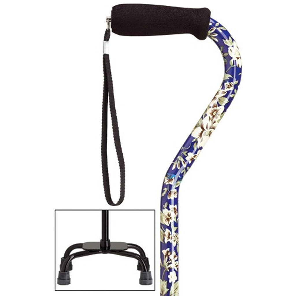 Blue Floral Dogwood Fashion Quad Cane Small