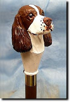 English Springer Spaniel Dog Birch Wood Hiking Staff