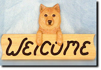 Finnish Spitz Dog Wood Welcome Sign