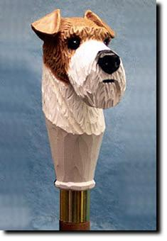Fox Terrier Wire Dog Birch Wood Hiking Staff