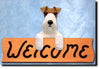 Fox Terrier Wired Dog Wood Welcome Sign