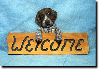 German Wirehaired Pointer Dog Wood Welcome Sign