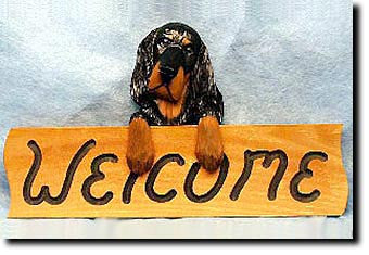 Gordon Setter Dog Wood Welcome Sign