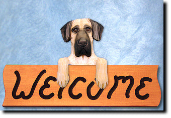 Great Dane Natural Dog Wood Welcome Sign