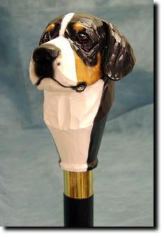 Greater Swiss Mountain Dog Head Cast Resin Hiking Staff