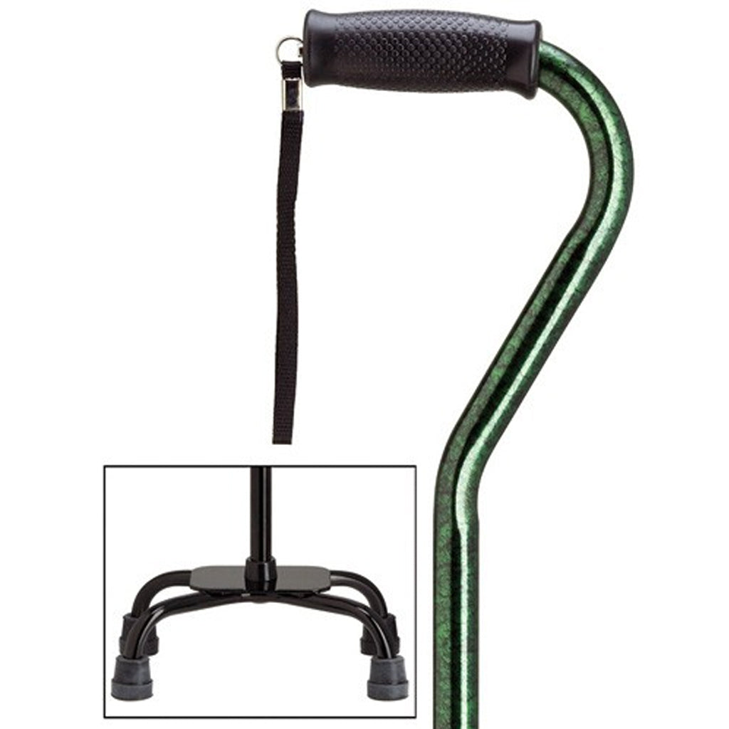 Sturdy Safety Green Large Quad Base Walking Cane