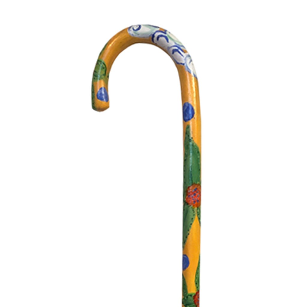 Wooden Hand Painted Flowers Walking Cane