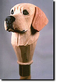 Labrador Retriever Dog Birch Wood Walking Cane Stick