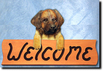 Leonberger Dog Wood Welcome Sign