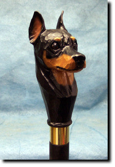 Miniature Pinscher Dog Birch Wood Walking Cane Stick