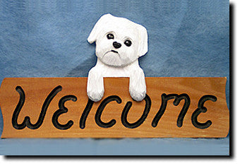 Maltese Puppy Clip Dog Wood Welcome Sign