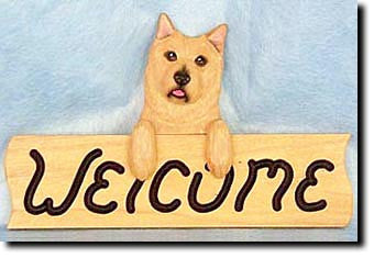 Norwich Terrier Dog Wood Welcome Sign