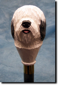 Old English Sheepdog Birch Wood Walking Cane Stick