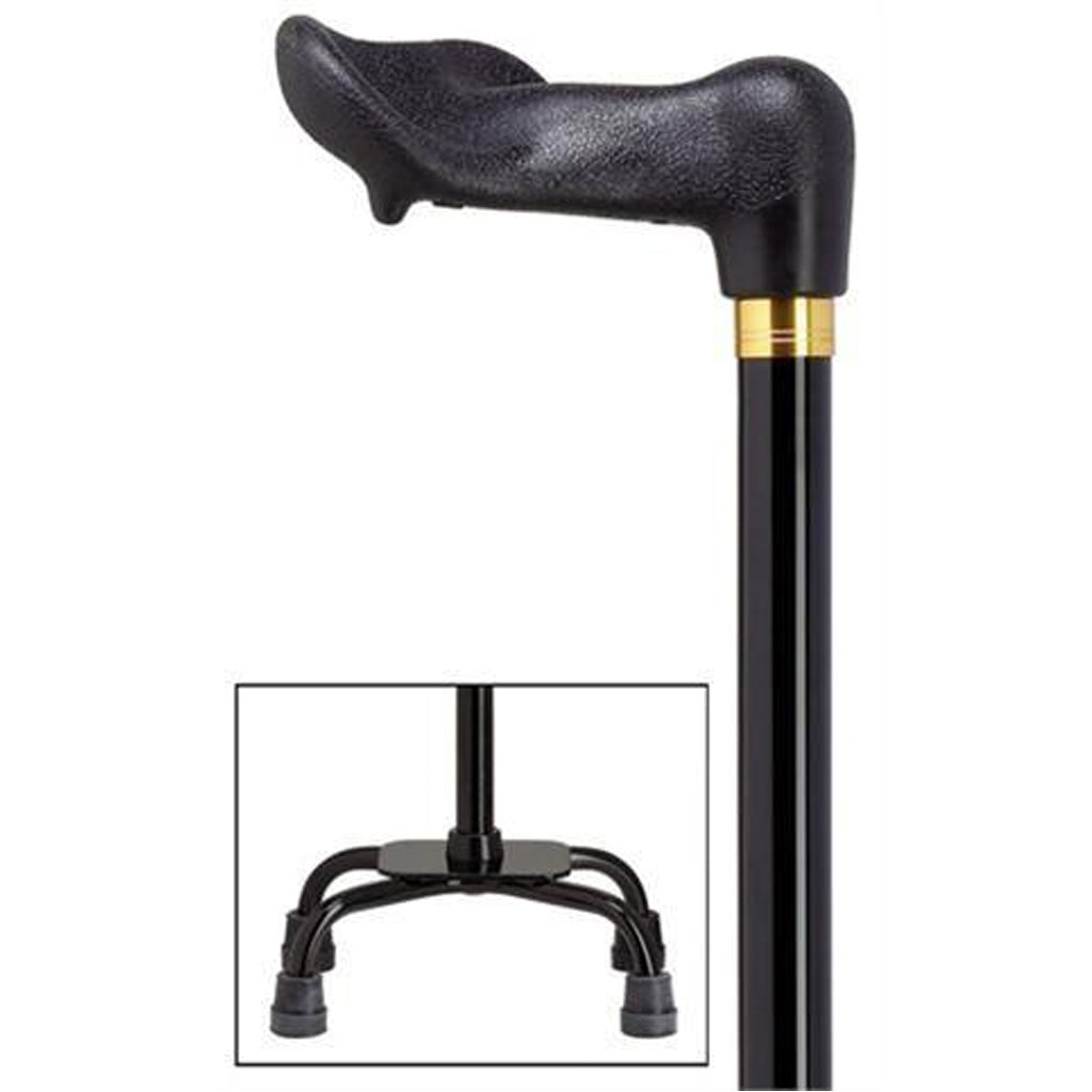 Palm Grip Black Small Quad Base Cane