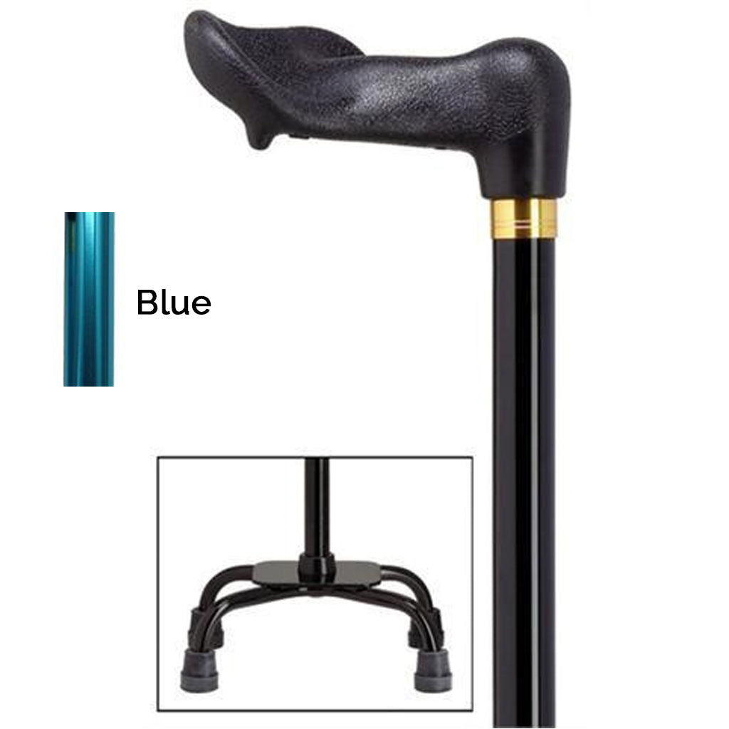 Palm Grip Blue Small Quad Base Adjustable Cane