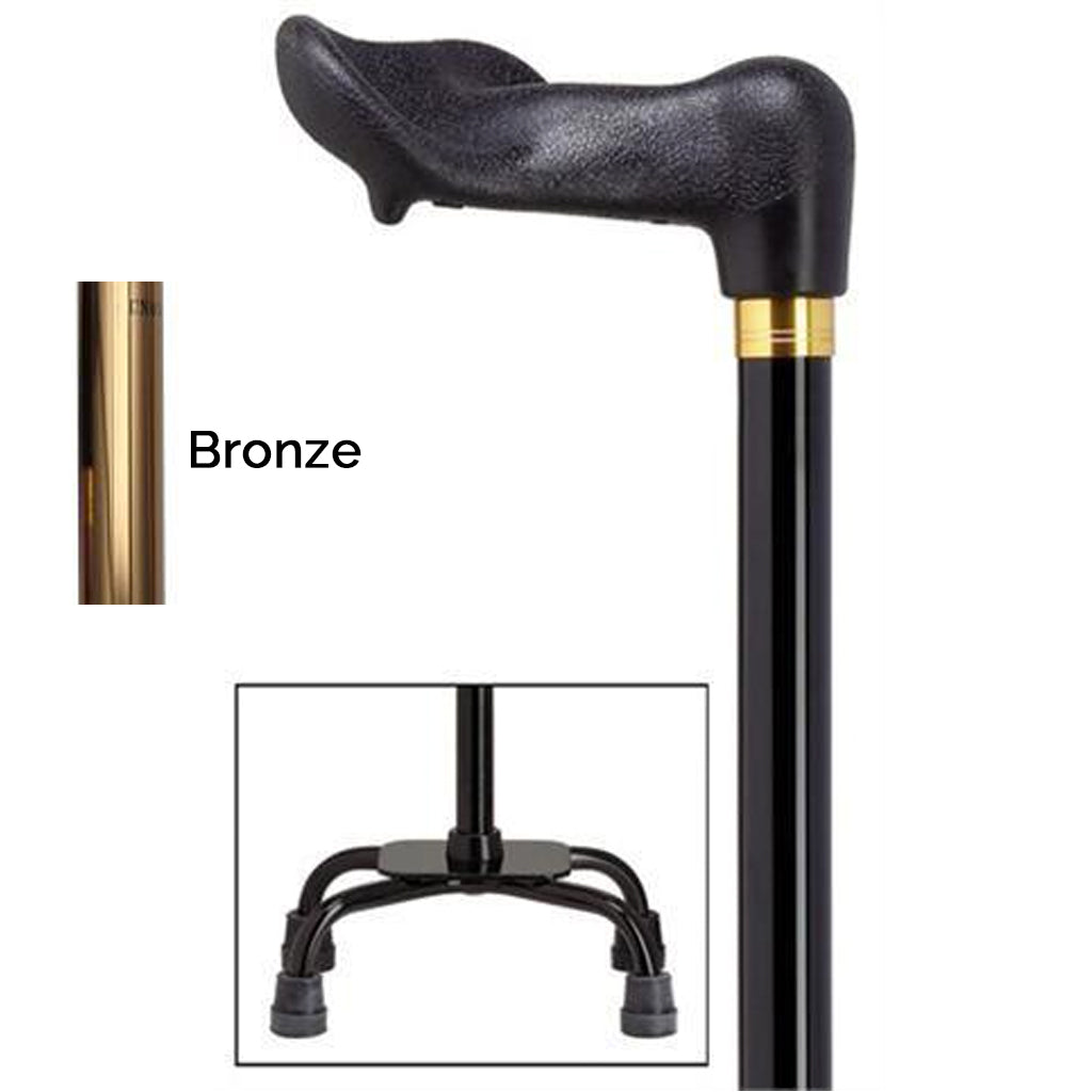 Palm Grip Bronze Small Quad Base Adjustable Cane