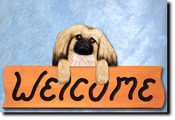 Pekingese Dog Wood Welcome Sign