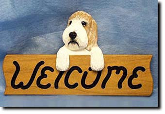 Petite Basset Griffon Vendeen Dog Wood Welcome Sign