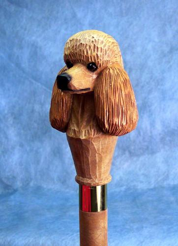 Apricot Poodle Dog Head Hand-painted Hiking Stick