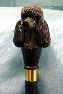 Black Poodle Hand Casted Walking Cane Stick