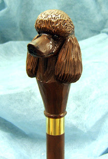 Brown Chocolate Poodle Hand-Cast Dog Walking Cane Stick