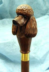 Brown Chocolate Poodle Hand-Cast Dog Hiking Staff