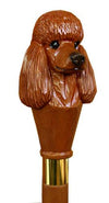 Red Poodle Wood Hand-Painted Walking Stick