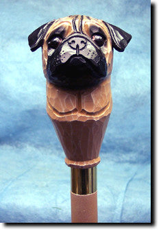 Pug Dog Hand-painted Walking Cane Stick