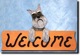 Schnauzer Miniature Dog Wood Welcome Sign
