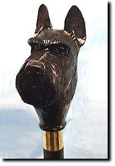 Scottish Terrier Dog Hand-painted Walking Cane Stick