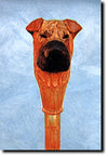 Shar Pei Dog Head Mounted on Birchwood Cane Stick