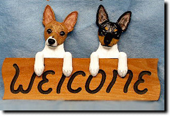 Toy Fox Terrier Dog Wood Welcome Sign