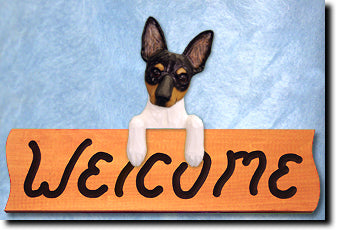 Toy Fox Terrier Canine Wood Welcome Sign Decor