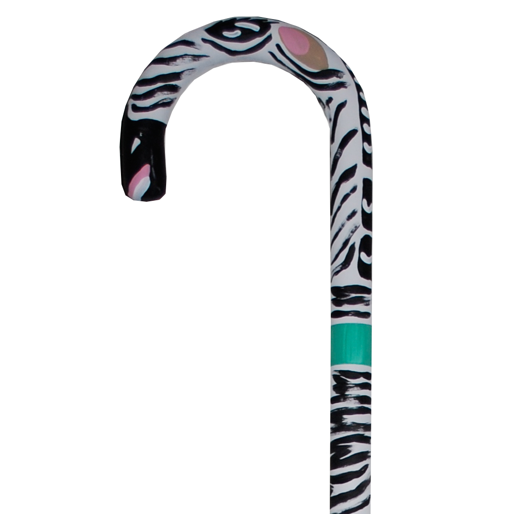 Hand Painted Cane Zebra