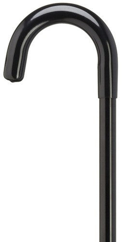 Crook Handle Hospital Cane Non Adjustable Black