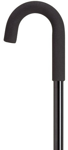 Mens Crook Handle Adjustable Cane Black