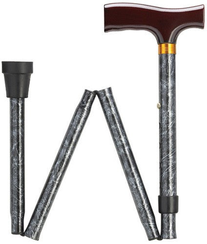 Fashionable Folding Imprints Black Marble Cane