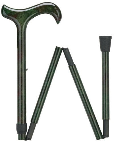 Ladies Green Folding Ultra Light Carbon Cane
