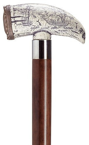 Embossed Whale Tooth Walnut Cane