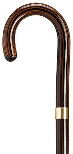 Ladies Crook Ebony with Gold Band Cane