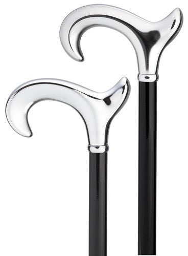 Anatomical Bright Shiny Chrome Derby Cane