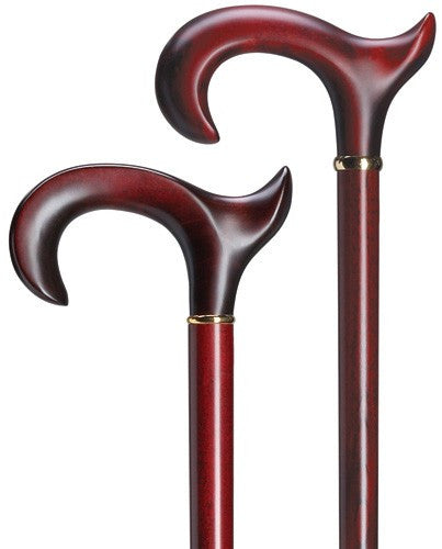 Anatomical Solid Wood Derby Cane Burgundy