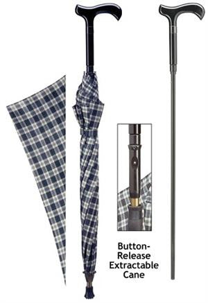 Cane Umbrella Blue and Black Plaid