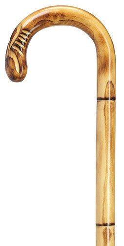 Carved Stepped and Scorched Chestnut Cane