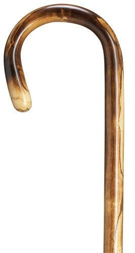 Dark Scorched Maple Crook Handle Cane Mens Walking Canes