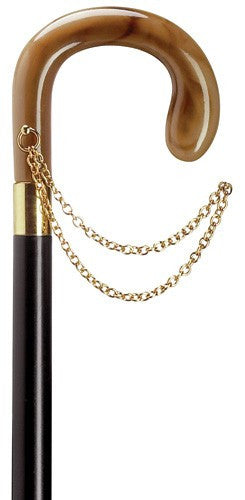 Ladies Crook Cane with Gold Chain Horn