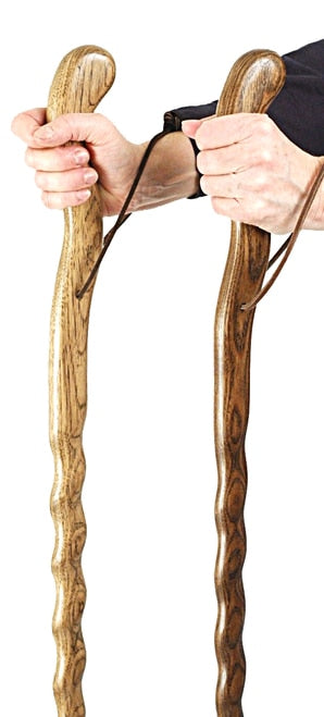 Solid Sturdy Oak Walking Stick Stain