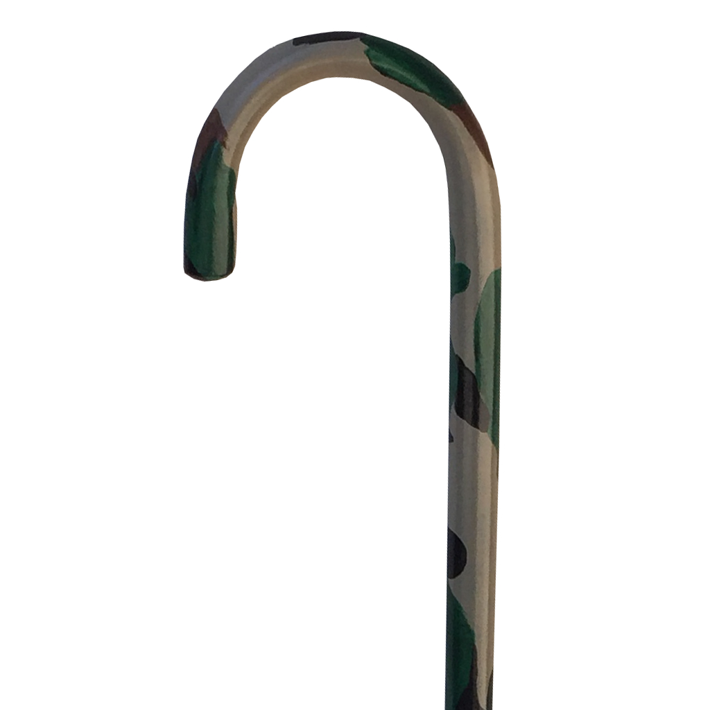 Hand Painted Cane - Camouflage Green