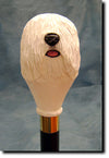Puli Dog Wooden Hand Painted Head Cane Stick