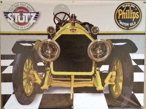 1914 STUTZ BEARCAT YELLOW GARAGE SCENE WALL ART MURAL PRINTED BANNER SIGN 4' x 3'